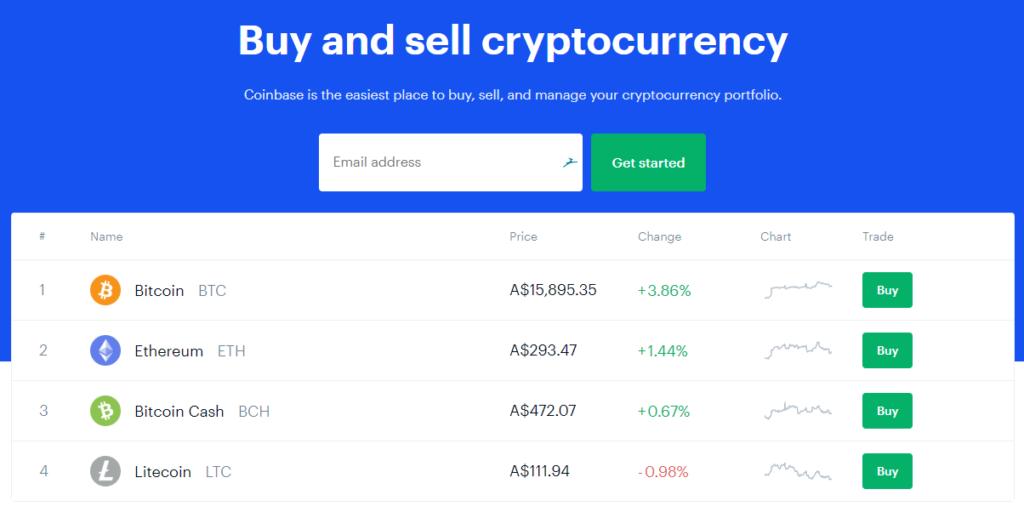 coinbase homepage